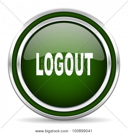 logout green glossy web icon modern design with double metallic silver border on white background with shadow for web and mobile app round internet original button for business usage