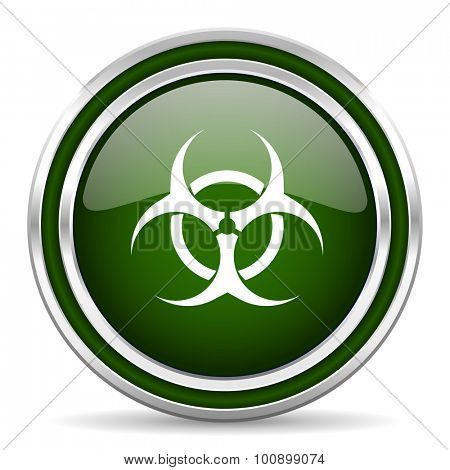 biohazard green glossy web icon modern design with double metallic silver border on white background with shadow for web and mobile app round internet original button for business usage
