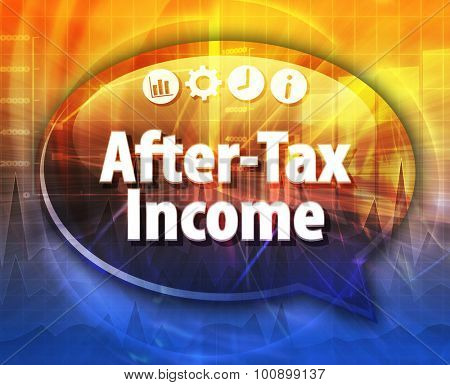 Speech bubble dialog illustration of business term saying After-Tax Income