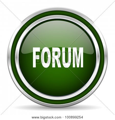 forum green glossy web icon modern design with double metallic silver border on white background with shadow for web and mobile app round internet original button for business usage