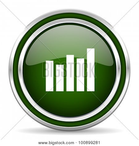 graph green glossy web icon modern design with double metallic silver border on white background with shadow for web and mobile app round internet original button for business usage
