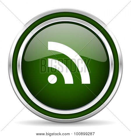 rss green glossy web icon modern design with double metallic silver border on white background with shadow for web and mobile app round internet original button for business usage