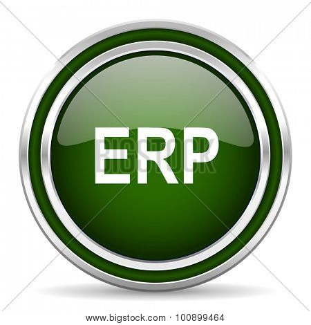 erp green glossy web icon modern design with double metallic silver border on white background with shadow for web and mobile app round internet original button for business usage