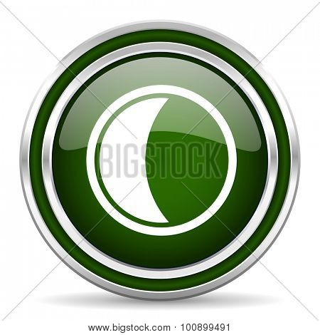 moon green glossy web icon modern design with double metallic silver border on white background with shadow for web and mobile app round internet original button for business usage