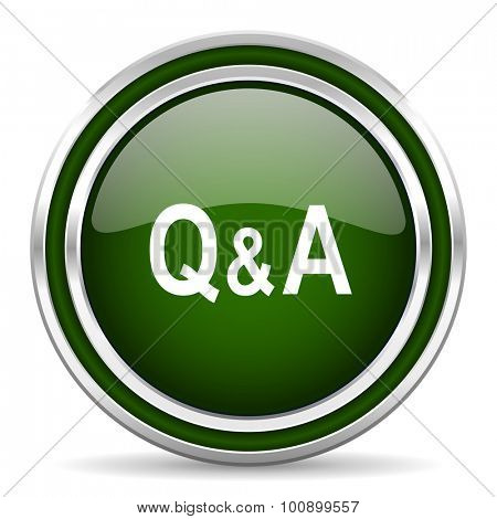 question answer green glossy web icon modern design with double metallic silver border on white background with shadow for web and mobile app round internet original button for business usage