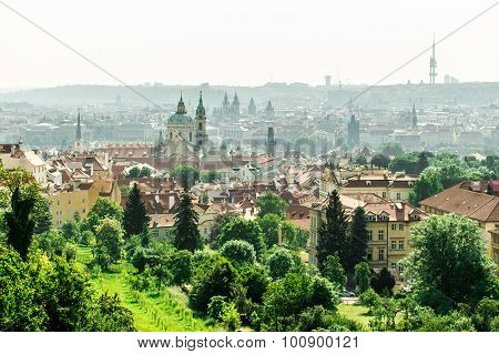 bird's-eye view on the Prague panorama