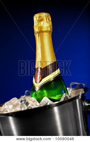 Champagne Bottle In Ice