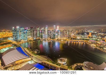 Panorama of Singapore skyline downtown