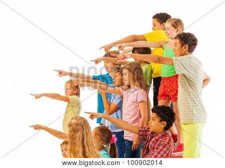 Large group of kids point fingers