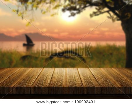 3D render of a wooden table with a defocussed image of a boat on a lake