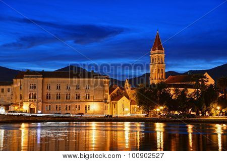 Old Town Of Trogir With Cathedral Of Saint Lawrence By Night