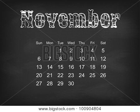 Vector 2016 calendar on black chalk board  American, Canadian calendar grid - weeks starts on Sunday