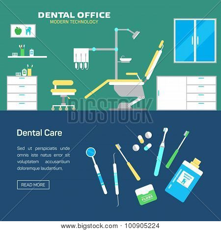 Vector dental office with seat and equipment tools