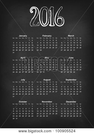 Vector 2016 calendar on black chalk board  American, Canadian calendar grid - weeks starts on Sunday