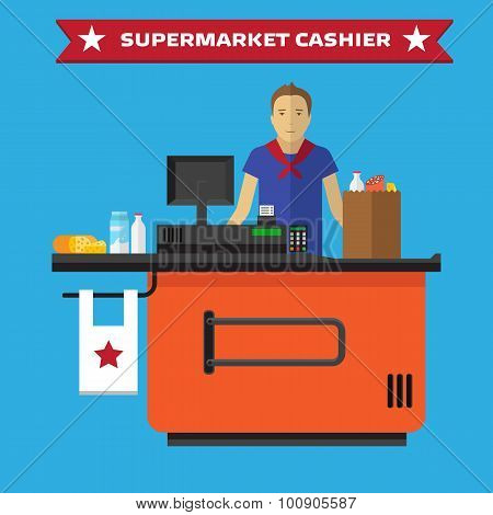 Young cashier man standing in supermarket