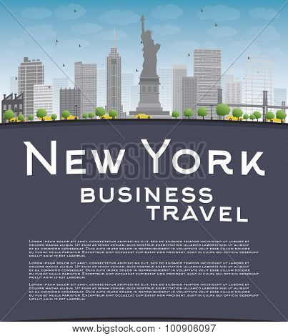 New York city skyline with blue sky, clouds and copy space. Business travel concept