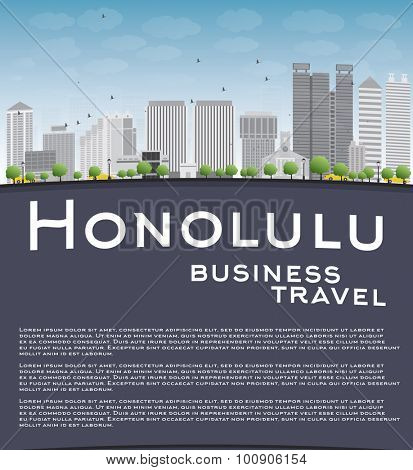 Honolulu Hawaii skyline with grey buildings, blue sky and copy space. Business travel concept.