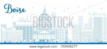 Outline Boise Skyline with Blue Building