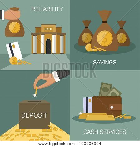 Vector set of banking concepts in flat style