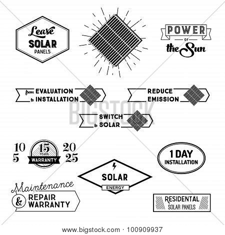 Solar power labels and badges for landing padges and promo. Vector illustrations of solar panels, si