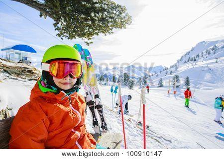 Skier on ski run, 4 Valley Swiss Alps