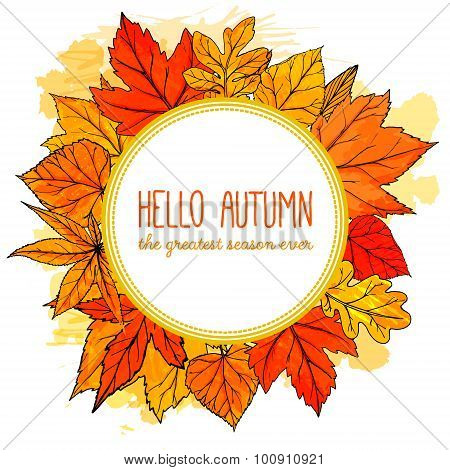 Autumn round frame with hand drawn golden leaves. Hello autumn banner. Vector fall design
