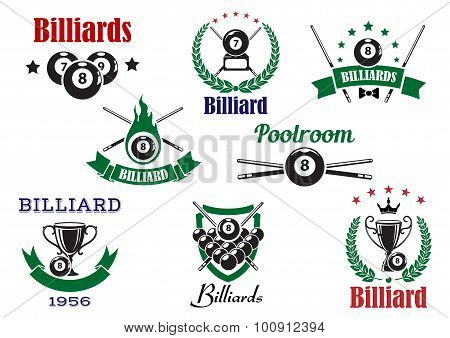 Billiards sports heraldic icons and elements