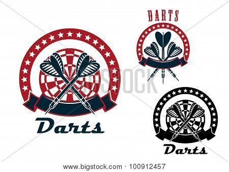 Darts emblems with arrows and dartboard