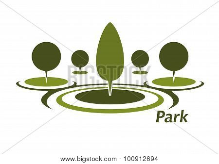 Park aicon with trimmed decorative trees