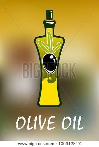 Bottle of olive oil with black fruit
