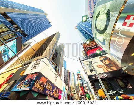 NEW YORK,USA- AUGUST 14,2015 : Skyscrapers and billboards at Times Square in New York