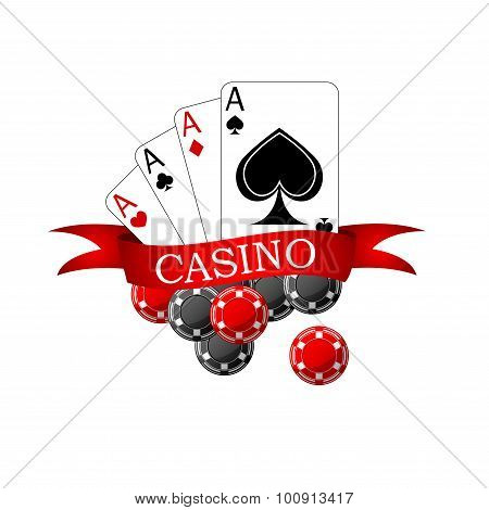 Casino icon with playing cards and chips