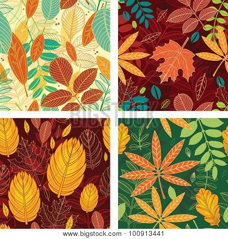 Four seamless patterns with autumn leaves