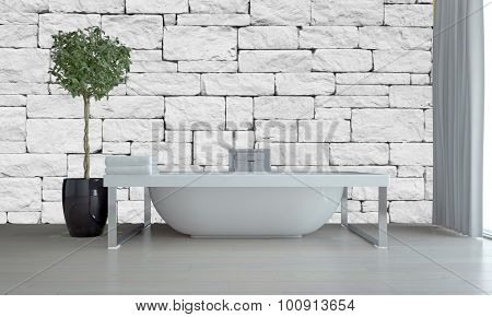 Modern bathroom interior with freestanding tub on a chrome frame against a white irregular brick or stone wall with a topiary tree in a flowerpot, grey floor and window blinds. 3d Rendering.