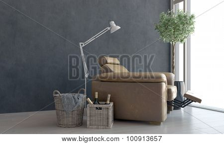 Comfortable brown leather recliner chair with a view through a panoramic floor-to-ceiling window and modern standing lamp, bottles of wine in a basket alongside. 3d Rendering.