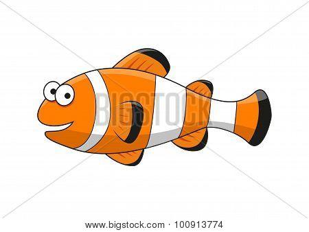Cartoon tropical clown fish character