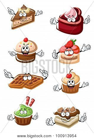 Fruity desserts, cakes, cupcakes and waffles