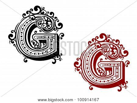 Letter G with ornamental flourishes