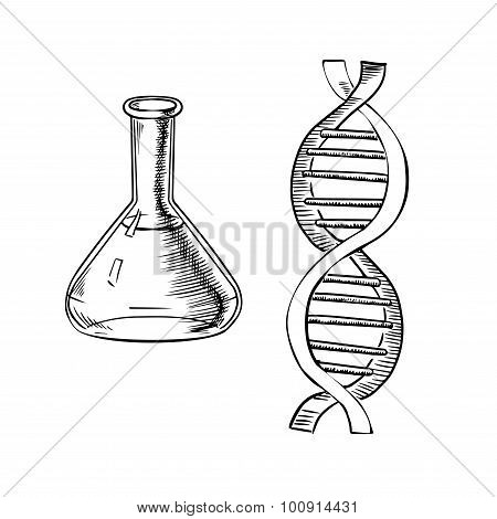 Laboratory flask and DNA helix