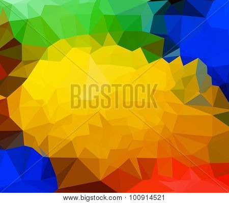 Editable low poly rainbow colored triangle background