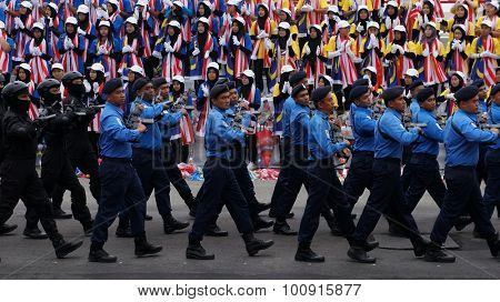 Kota Kinabalu, Malaysia - 31 August  2015 : Malaysian participate in National Day Parade, celebrating 58th anniversary of independence in Kota Kinabalu, Malaysia.