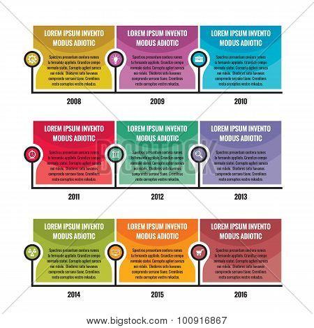 Business infographic concept - vector timeline for presentation, booklet, website etc.