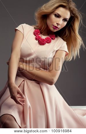 Romantic Blonde Lady Posing In Studio.
