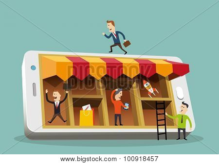 Business people around a smartphone. Mobile busines concept. Vector illustration.