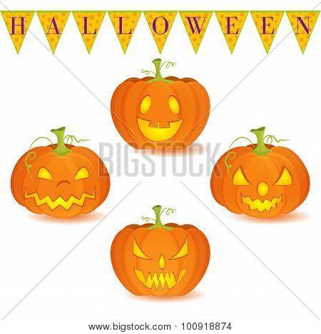 Halloween pumpkin Jack O'Lantern set isolated on white