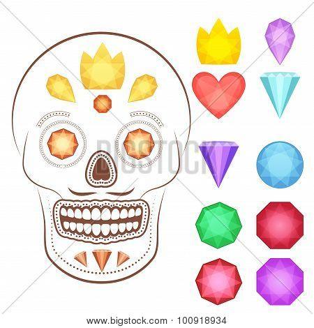 Cartoon gems and precious stones icons set