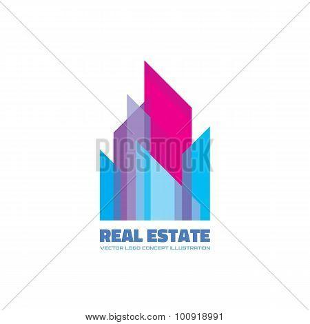 Real estate logo concept illustration. Building logo. Cityscape logo. Abstract vector logo.