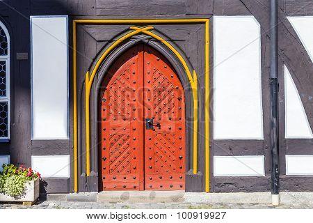 Old Door At Medieval Houses In Schotten