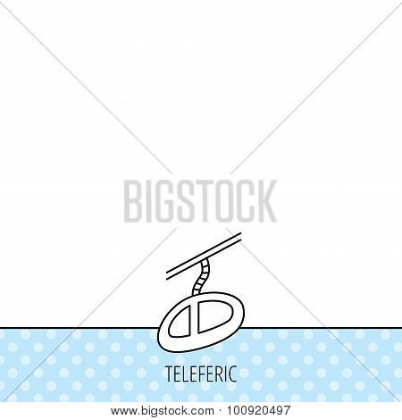 Teleferic icon. Telpher cable-railway sign.