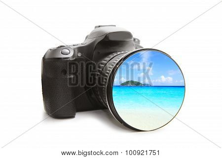 The sea  view in DSLR camera